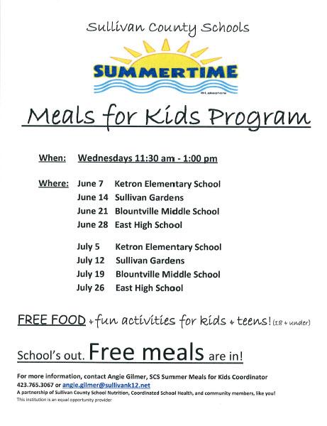 Summer Meal info for Sullivan county